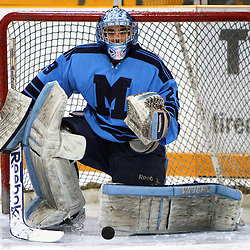 AURORA, ON - Jan 18 : Ontario Junior Hockey League Game Action between the St. Michael's Buzzers and the Aurora Tigers, George Argiropoulos #29 of the St.Michael's Buzzers Hockey Club makes the save during the pre-game warm-up.<br /> (Photo by Brian Watts / OJHL Images)