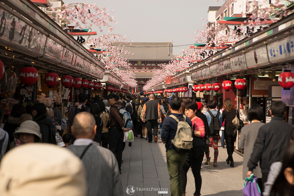 Nakamise Street is the major shopping area for tourists near Sensoji Temple in Asakusa, Tokyo.