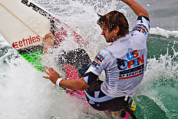 HUNTINGTON BEACH, California/USA (Sunday, August 8, 2010) - Brett Simpson at US Open of Surfing Semifinals Heat1. Brett defeated Nine-Time World Champion Kelly Slater by a slim margin of 0.04. Brett scored 13.37 and Kelly 13.33