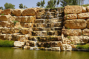 Artificial ornamental waterfall in a manmade park