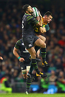 Rugby Union - 2017 Guinness Series (Autumn Internationals) - Ireland vs. South Africa<br /> <br /> Ireland's Rob Kearney and South Africa's Jesse Kriel compete for possession in the air, at the Aviva Stadium.<br /> <br /> COLORSPORT/KEN SUTTON