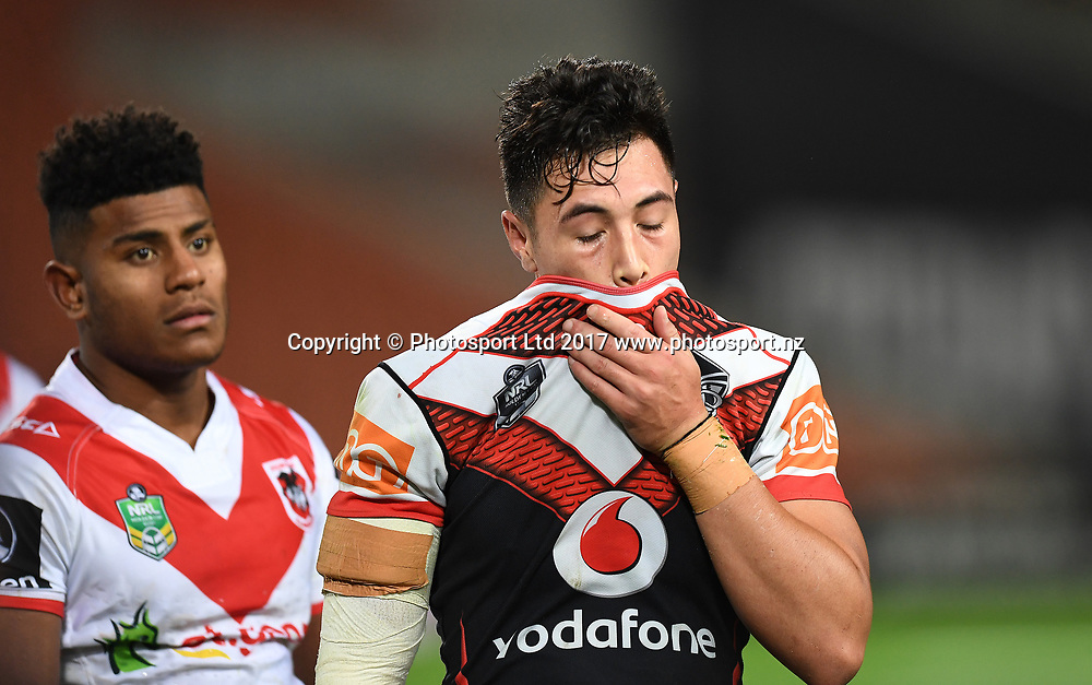A dejected Kane Telea at the end of the match.<br /> NRL Holden Cup, NYC Juniors U20s. Vodafone Warriors v  St George Illawarra Dragons. NRL Rugby League. Waikato Stadium, Hamilton, New Zealand. Friday 19 May 2017 &copy; Copyright Photo: Andrew Cornaga / www.Photosport.nz