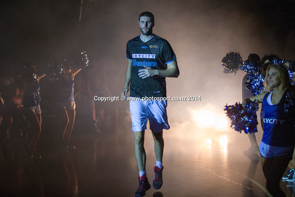 Breakers` Alex Pledger before the game between SkyCity Breakers v Townsville Crocodiles. 2014/15 ANBL Basketball Season. North Shore Events Centre, Auckland, New Zealand, Friday, December 19, 2014. Photo: David Rowland/Photosport