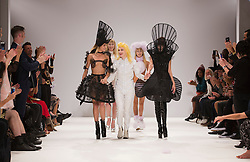 © Licensed to London News Pictures. 17/09/2012. London, England. Catwalk show by iconic fashion designer Pam Hogg at Vauxhall Fashion Scout during London Fashion Week. Her outfits have been worn by many celebrities. Photo credit: Bettina Strenske/LNP