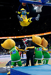Mascots perform during basketball game between National basketball teams of F.Y.R. of Macedonia and Russia of 3rd place game of FIBA Europe Eurobasket Lithuania 2011, on September 18, 2011, in Arena Zalgirio, Kaunas, Lithuania. (Photo by Vid Ponikvar / Sportida)