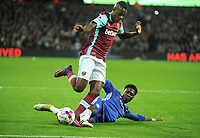 Football - 2016 / 2017 League [EFL] Cup - Fourth Round: West Ham United vs. Chelsea<br /> <br /> Edimilson Fernandes of West ham rides a tackle from Ola Aina of Chelsea at the London Stadium.<br /> <br /> COLORSPORT/ANDREW COWIE