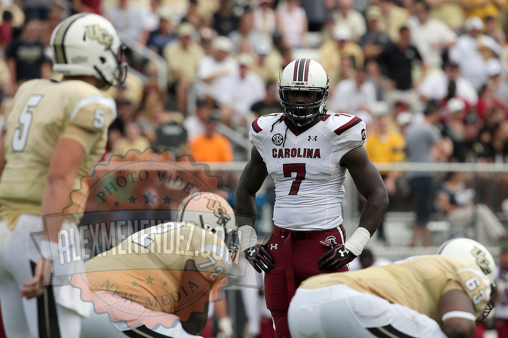South Carolina Gamecocks defensive end Jadeveon Clowney (7) sets up on defense for an NCAA football game between the South Carolina Gamecocks and the Central Florida Knights at Bright House Networks Stadium on Saturday, September 28, 2013 in Orlando, Florida. (AP Photo/Alex Menendez)