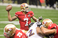 3 February 2013: Quarterback (7) Colin Kaepernick of the San Francisco 49ers passes the ball against the Baltimore Ravens during the second half of the Ravens 34-31 victory over the 49ers in Superbowl XLVII at the Mercedes-Benz Superdome in New Orleans, LA.