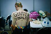 Bangkok January 26, 2018 -    Transgender at the Make-Up Room before the show  at the Thailandís first LGBT-themed expoBangkok 26 janvier 2018 - Transgenre à la salle de maquillage avant le spectacle de la première exposition sur le thème LGBT en Thaïlande.
