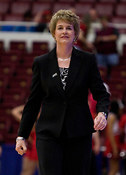 March 20, 2010; Stanford, CA, USA;  Iowa Hawkeyes head coach Lisa Bluder before the game against the Rutgers Scarlet Knights in the first round of the 2010 NCAA womens basketball tournament at Maples Pavilion.  Iowa defeated Rutgers 70-63.