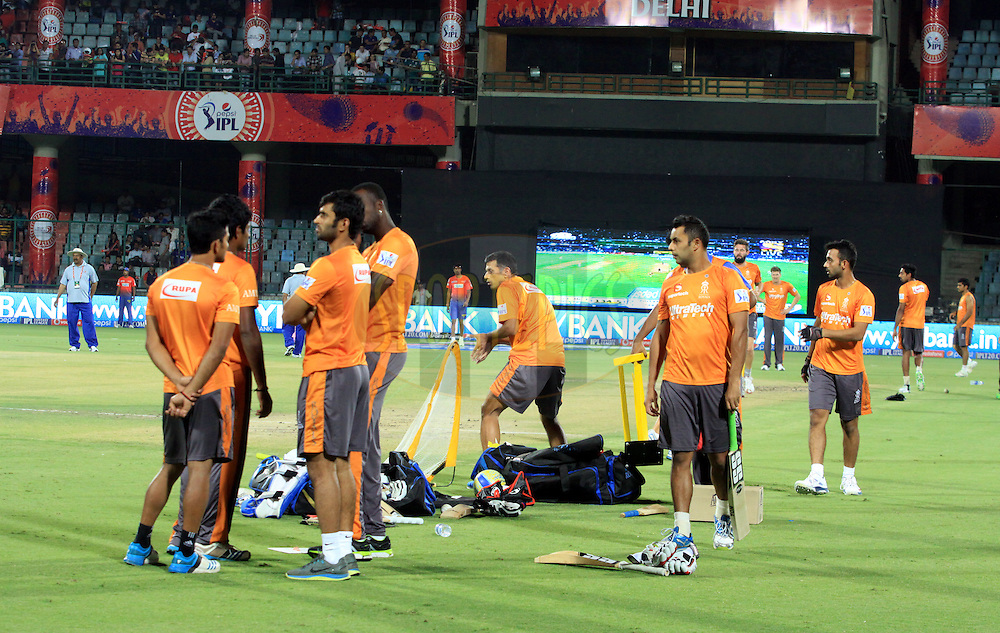 Rajasthan Royals players on ground before match 23 of the Pepsi Indian Premier League Season 2014 between the Delhi Daredevils and the Rajasthan Royals held at the Feroze Shah Kotla cricket stadium, Delhi, India on the 3rd May  2014<br /> <br /> Photo by Arjun Panwar / IPL / SPORTZPICS<br /> <br /> <br /> <br /> Image use subject to terms and conditions which can be found here:  http://sportzpics.photoshelter.com/gallery/Pepsi-IPL-Image-terms-and-conditions/G00004VW1IVJ.gB0/C0000TScjhBM6ikg