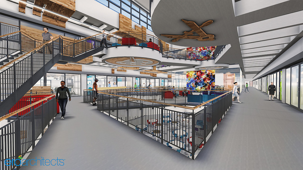 An artist's rendering shows how wood from the current gymnasium floor at Furr High School could be incorporated into the new building.
