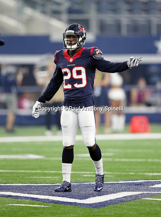 Houston Texans defensive back Andre Hal (29) points during the 2015 NFL preseason football game against the Dallas Cowboys on Thursday, Sept. 3, 2015 in Arlington, Texas. The Cowboys won the game 21-14. (©Paul Anthony Spinelli)