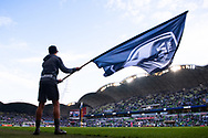 MELBOURNE, AUSTRALIA - APRIL 14: A ball boy is seen waving the Victory flag prior to the start of the match during round 25 of the Hyundai A-League match between Melbourne Victory and Central Coast Mariners on April 14, 2019 at AAMI Park in Melbourne, Australia. (Photo by Speed Media/Icon Sportswire)