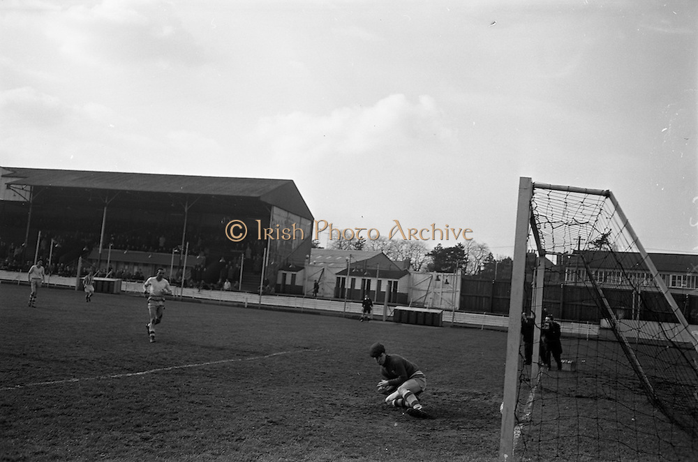17/02/1963<br /> 02/17/1963<br /> 17 February 1963<br /> Soccer: Transport v Cobh Ramblers at Harold's Cross, Dublin.<br /> O'Conner, Cobh Ramblers Keeper dives but misses the ball.