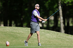 Steve Fuller tees off during the Chick-fil-A Peach Bowl Challenge at the Oconee Golf Course at Reynolds Plantation, Sunday, May 1, 2018, in Greensboro, Georgia. (Marvin Gentry via Abell Images for Chick-fil-A Peach Bowl Challenge)