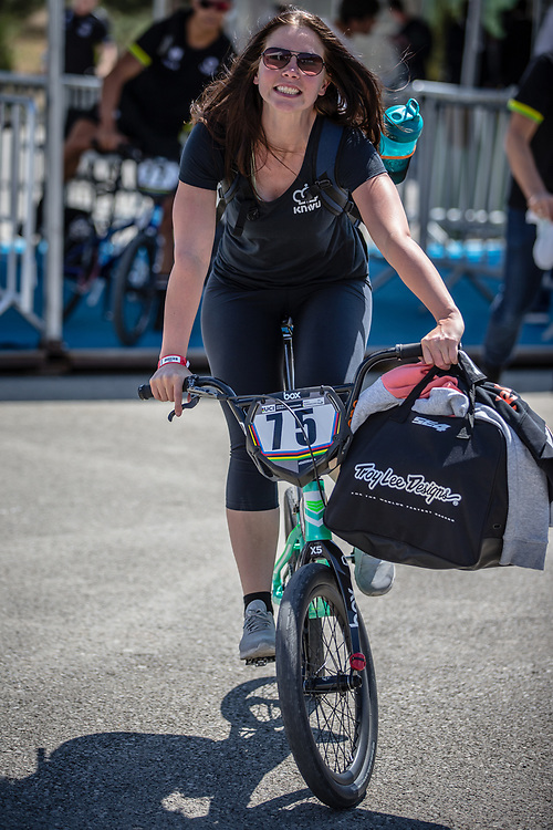 Women Elite #75 (VAN BENTHEM Merle) NED arriving on race day at the 2018 UCI BMX World Championships in Baku, Azerbaijan.