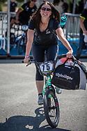 Women Elite #75 (VAN BENTHEM Merle) NED arriving on race day at the 2018 UCI BMX World Championships in Baku, Azerbaijan.
