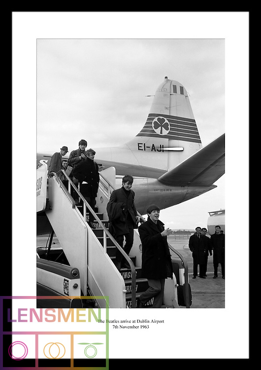 The Beatles arrive at Dublin Airport on 7th November 1963. The Irish Photo Archive has an awesome gallery with loads of iconic photography of the Beatles at Dublin Airport. Look at www.irishphotoarchive.ie