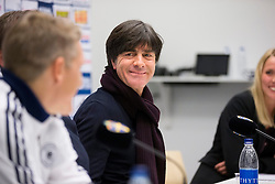 15.10.2013, Friends Arena, Stockholm, SWE, FIFA WM Qualifikation, Schweden vs Deutschland, Gruppe C, im Bild, Joachim Löw , , Nyckelord Keywords: football, fotboll, soccer, FIFA, World Cup, Qualification, Sweden, Sverige, Schweden, Germany, Tyskland, Deutschland, presskonferens, press conference, glad, glädje, lycka, leende, ler, le, happy, joy, smiling // during the FIFA World Cup Qualifier Group C Match between Sweden and Germany at the Friends Arena, Stockholm, Sweden on 2013/10/15. EXPA Pictures © 2013, PhotoCredit: EXPA/ PicAgency Skycam/ Sami Grahn<br /> <br /> ***** ATTENTION - OUT OF SWE *****