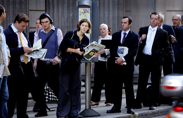 ENGLAND 26/08/05 woman commuter by Neville ElderLONDON SCENES: City Of London by Neville Elder