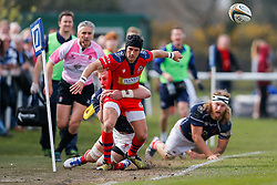 Bristol Rugby Fly-Half Matthew Morgan is tackled into touch - Mandatory byline: Rogan Thomson/JMP - 02/04/2016 - RUGBY UNION - Richmond Athletic Ground - London, England - London Scottish v Bristol Rugby - Greene King IPA Championship.