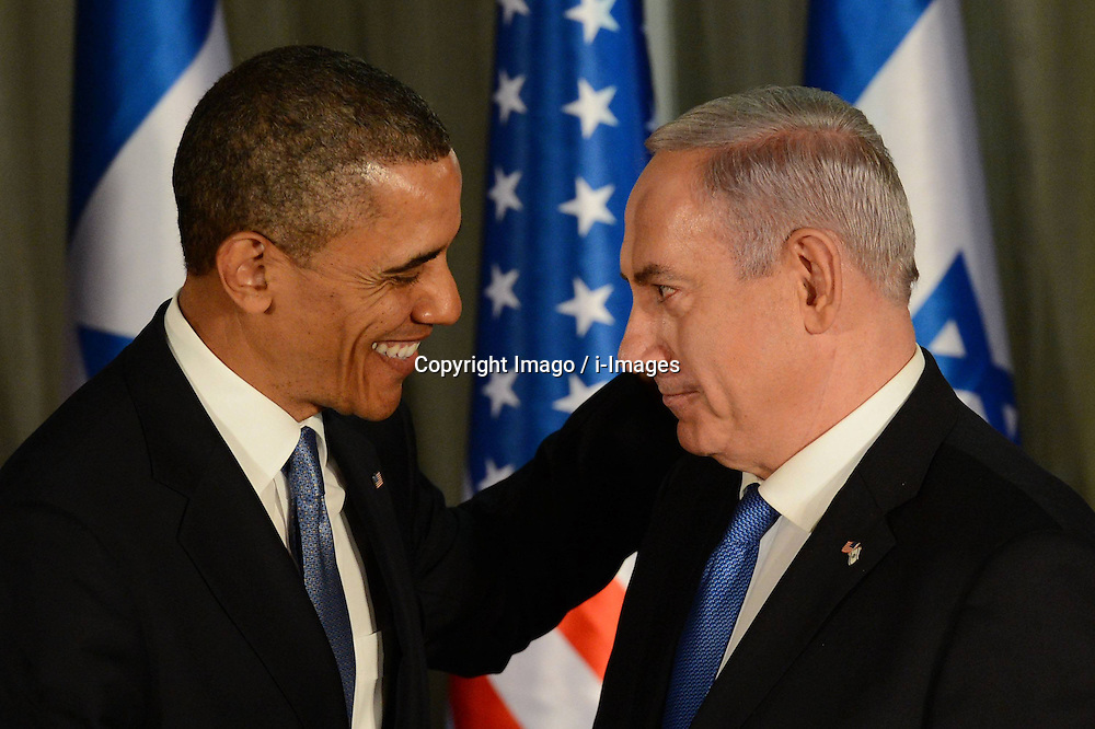 U.S. President Barack Obama (L) and Israeli Prime Minister Benjamin Netanyahu hold a joint press conference after their closed-door meeting at the Prime minister s residence in Jerusalem, Isreal, March 20, 2013. Photo by Imago / i-Images...UK ONLY.