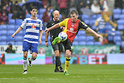 Birmingham City midfielder (8) Stephen Gleeson clears the ball from midfield during the Sky Bet Championship match between Reading and Birmingham City at the Madejski Stadium, Reading, England on 9 April 2016. Photo by Mark Davies.