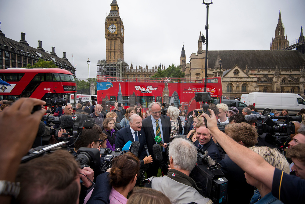 © Licensed to London News Pictures. 21/08/2017. London, UK.  MP STEPHEN POUND and MP PTER BONE talking to media on Parliament Square after Big Ben chimed for the last time ahead of repair works. The Great Bell, also known as Big Ben, is expected to be silent for up to four years as renovation work is carried out on the surrounding Elizabeth Clock Tower. The worlds most famous clock has sounded on the hour for 157 years and last fell silent for maintenance work in 2007. Photo credit: Ben Cawthra/LNP