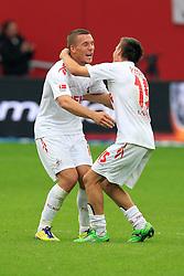 17.09.2011,  BayArena, Leverkusen, GER, 1.FBL, Bayer 04 Leverkusen vs 1. FC Koeln, im Bild.Lukas Podolski (Koeln #10) und Slawomir Peszko (Koeln #15) feiern nach dem Sieg..// during the 1.FBL, Bayer Leverkusen vs 1. FC Köln on 2011/09/17, BayArena, Leverkusen, Germany. EXPA Pictures © 2011, PhotoCredit: EXPA/ nph/  Mueller *** Local Caption ***            ****** out of GER / CRO  / BEL ******