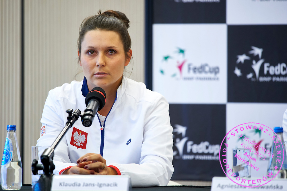 Klaudia Jans Ignacik from Poland speaks during official draw one day before the Fed Cup / World Group 1st round tennis match between Poland and Russia at Holiday Inn on February 6, 2015 in Cracow, Poland.<br /> <br /> Poland, Cracow, February 6, 2015<br /> <br /> Picture also available in RAW (NEF) or TIFF format on special request.<br /> <br /> For editorial use only. Any commercial or promotional use requires permission.<br /> <br /> Adam Nurkiewicz declares that he has no rights to the image of people at the photographs of his authorship.<br /> <br /> Mandatory credit:<br /> Photo by &copy; Adam Nurkiewicz / Mediasport