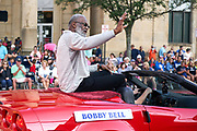 Aug 3, 2019; Canton, OH, USA; Bobby Bell during the Pro Football Hall of Fame Grand Parade on Cleveland Ave. in Downtown Canton. (Robin Alam/Image of Sport)