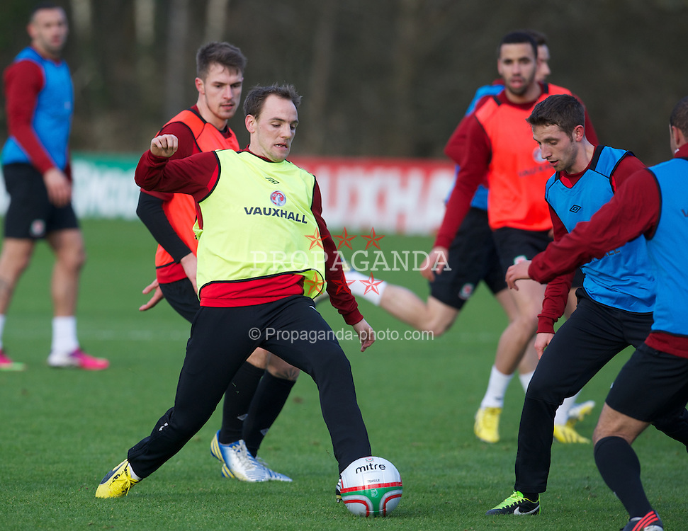 CARDIFF, WALES - Monday, February 4, 2013: Wales' David Vaughan during a training session at the Vale of Glamorgan Hotel ahead of the International Friendly against Austria. (Pic by David Rawcliffe/Propaganda)