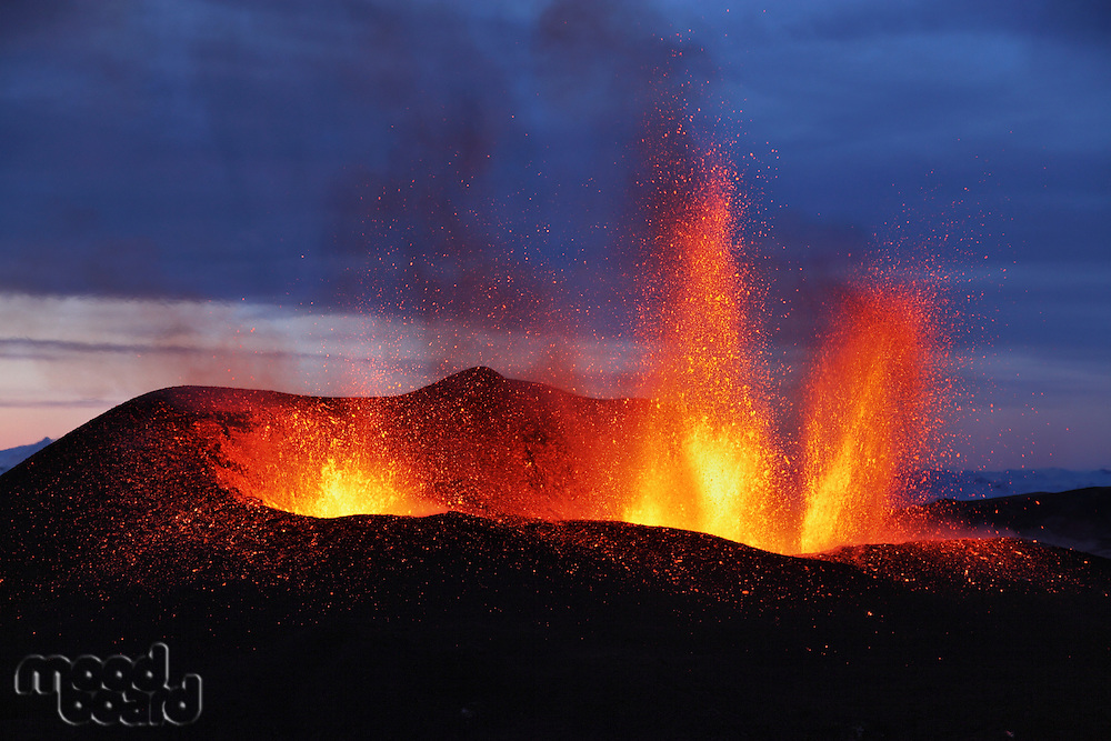 Molten lava erupts from Eyjafjallajokull Fimmvorduhals Iceland