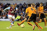 Gabriel Agbonlahor shoots during the Pre-Season Friendly match between Wolverhampton Wanderers and Aston Villa at Molineux, Wolverhampton, England on 28 July 2015. Photo by Alan Franklin.