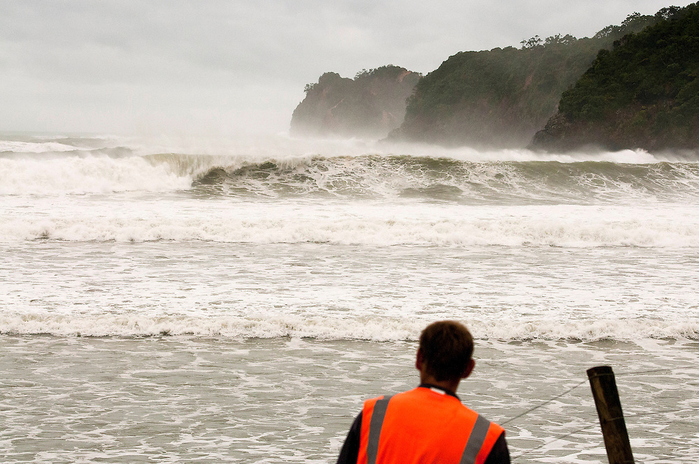 Wave action caused by Cyclone Pam at Matapouri, near Whangarei, New Zealand, Monday March 16, 2015. Credit:SNPA / Malcolm Pullman