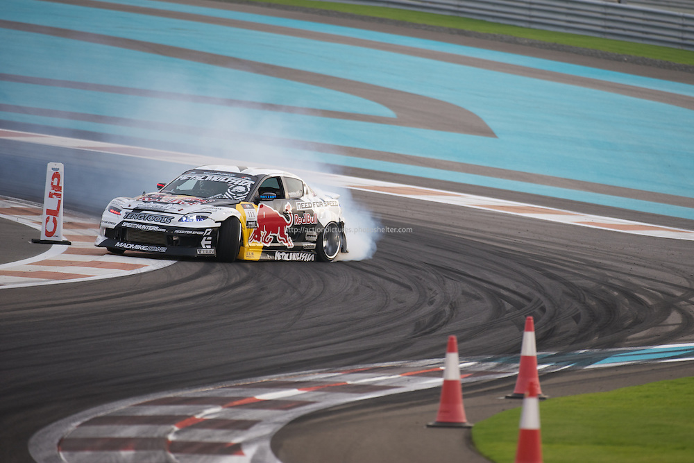 25 feb, formula drift champion ship, yas marina circuit, abu dhabi, mike whiddett driving his redbull mazda rx8