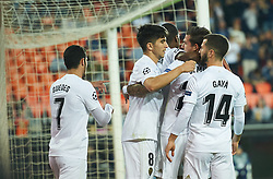 November 7, 2018 - Valencia, Valencia, Spain - Valencia CF players celebrates a goal during the UEFA Champions League group H match between Valencia FC and  Young Boys at Mestalla Stadium on November 7, 2018 in Valencia, Spain  (Credit Image: © Maria Jose Segovia/NurPhoto via ZUMA Press)