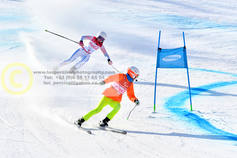 UMSTEAD Danelle B2 USA Guide: UMSTEAD Rob competing in ParaSkiAlpin, Para Alpine Skiing, Super G at PyeongChang2018 Winter Paralympic Games, South Korea.