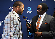 Apr 6, 2018; Thousand Oaks, CA, USA; Los Angeles Rams defensive tackle Ndamukong Suh (left) is interviewed by CBS Los Angeles KCBS/KCAL broadcaster Jim Hill at a press conference at Cal Lutheran.