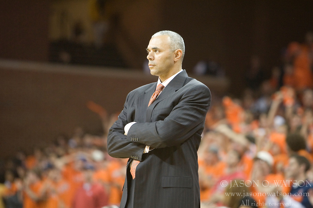 Virginia head coach Dave Leitao watches along the bench as UVA defeated the #10 ranked Wildcats 93-90 in the first game at the new John Paul Jones Arena, in Charlottesville, VA on November 12, 2006...
