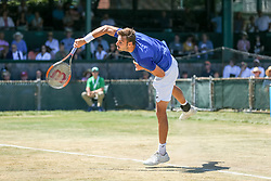 July 20, 2018 - Newport, RI, U.S. - NEWPORT, RI - JULY 20: Marcel Granollers (SPA) serves to Adrian Mannarino (FRA) during their quarterfinal match up of the Dell Technologies Hall of Fame Open at the International Tennis Hall of Fame in Newport, Rhode Island on July 20, 2018. Granollers won the match 6-3, 6-1 and advanced to the semifinals. (Photo by Andrew Snook/Icon Sportswire) (Credit Image: © Andrew Snook/Icon SMI via ZUMA Press)