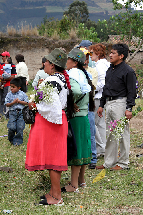 South America, Ecuador, San Pablo del Lago. Dia de Los Muertos in Ecuador, when families visit the graves of loved ones.