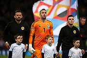 Scotland forward Steven Fletcher (9) (Sheffield Wednesday), Scotland goalkeeper Allan McGregor (1) (Rangers) and Scotland defender Andy Robertson (3) (Liverpool) during the UEFA Nations League match between Scotland and Israel at Hampden Park, Glasgow, United Kingdom on 20 November 2018.
