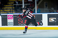 KELOWNA, CANADA - MARCH 14: Ryan Schoettler #16 of the Prince George Cougars takes a second period shot on net against the Kelowna Rockets  on March 14, 2018 at Prospera Place in Kelowna, British Columbia, Canada.  (Photo by Marissa Baecker/Shoot the Breeze)  *** Local Caption ***