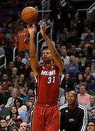 Nov. 17, 2012; Phoenix, AZ, USA; Miami Heat forward Shane Battier (31) shoots the ball during the game against the Phoenix Suns in the first half at US Airways Center. Mandatory Credit: Jennifer Stewart-US PRESSWIRE.
