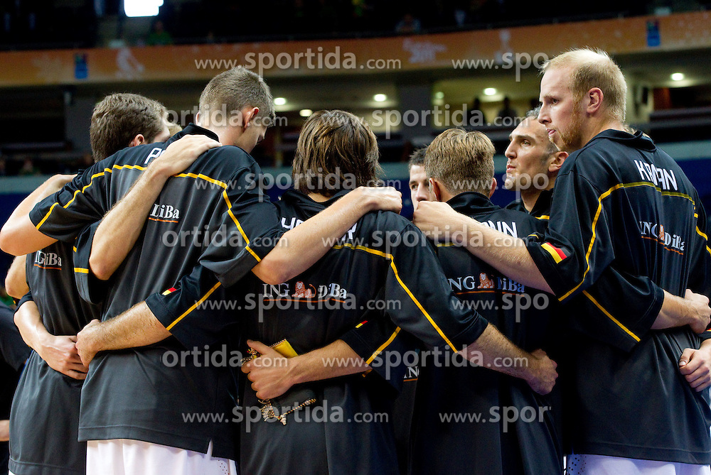 Players of Germany during basketball game between National basketball teams of Germany and Turkey at FIBA Europe Eurobasket Lithuania 2011, on September 9, 2011, in Siemens Arena,  Vilnius, Lithuania. Germany defeated Turkey 73-67.  (Photo by Vid Ponikvar / Sportida)