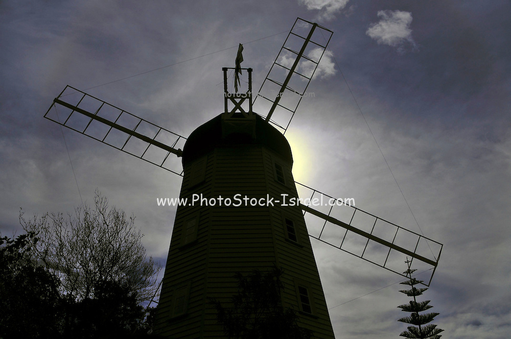 New Zealand, South Island, Nelson. Founders Heritage Park Silhouette of a windmill