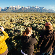 Teten Science Schools tour participants watch a herd of elk forage in the early morning hours. (Maura Bushior, Katie-Cloe Stock, Tracy Logan, Dawson-guide) Tetons in the background.