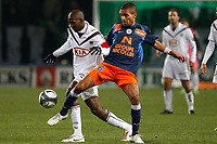 FOOTBALL - FRENCH CHAMPIONSHIP 2009/2010  - L1 - MONTPELLIER HSC v GIRONDINS BORDEAUX - 16/12/2009 - PHOTO PHILIPPE LAURENSON / DPPI - MARVEAUX (MON) / DIARRAQ (BOR)